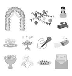 Event organisation monochrome icons in set vector