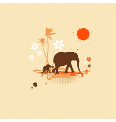 family of elephants summer illustration vector image