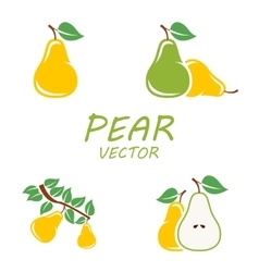 flat pear icons set vector image