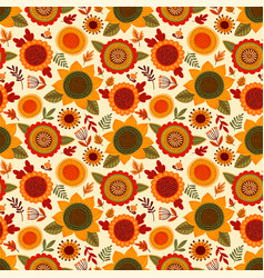 folk seamless pattern with autumn flowers leaves vector image