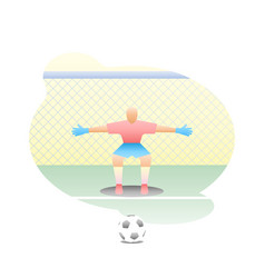 football goalkeeper stands at goal with a net vector image