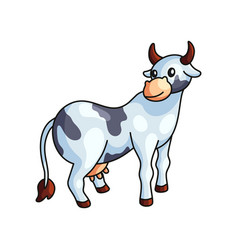 funny black and white spotted cow standing looking vector image