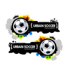 graffiti style urban soccer banner vector image