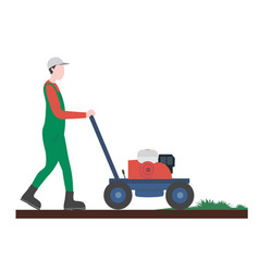 Guy mowing grass artificial turf flat vector
