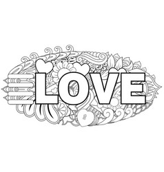 Hand drawn doodle love lettering with element back vector
