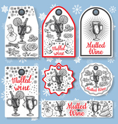 Hand drawn mulled wine gift tags set black vector