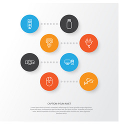 Hardware icons set collection of socket vector