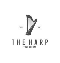 harp silhouette logo vector image