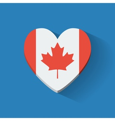 Heart-shaped icon with flag canada vector