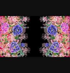 Hologram three-dimensional image of peonies vector