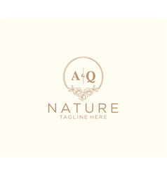 Initial aq letters floral frames botanical vector