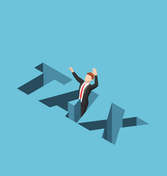 isometric businessman falling into tax hole vector image