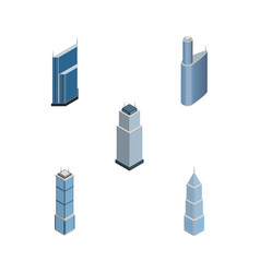 Isometric skyscraper set of apartment exterior vector