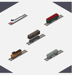 Isometric transport set of subway vehicle train vector