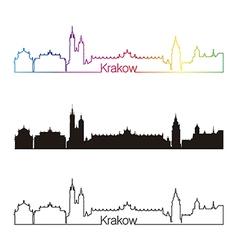 Krakow skyline linear style with rainbow vector
