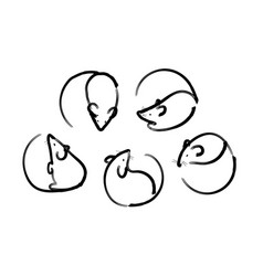 linear mouse icons several top and side views vector image