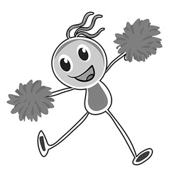 Little girl cheering with pom pom vector
