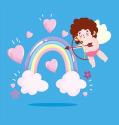 love cupid with bow and arrow rainbow hearts vector image