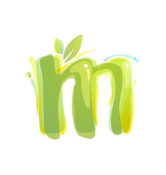 M letter eco logo formed watercolor splashes vector