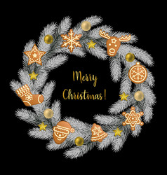 Merry christmas greeting card with fir tree frame vector