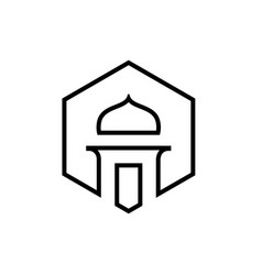 mosque logo icon in line art style vector image