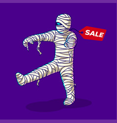 mummy cartoon with price tag vector image