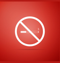 no smoking sign on red background cigarette icon vector image