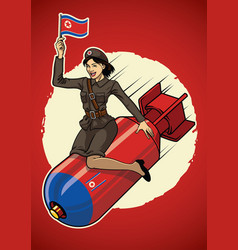 North korea pin up girl ride a nuclear bomb vector