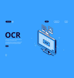 Optical character recognition ocr isometric banner vector