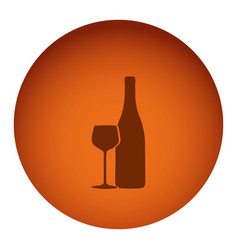 Orange color circular frame with silhouette wine vector