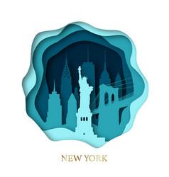 Paper art skyline new york city vector