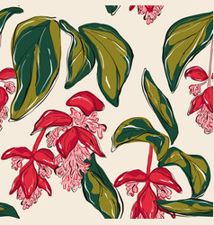 paradise flowers pattern red and white long vector image