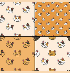 pattern collection with inky lucky cat vector image