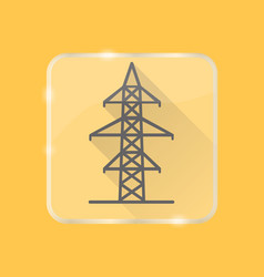 power line transmission tower silhouette icon in vector image