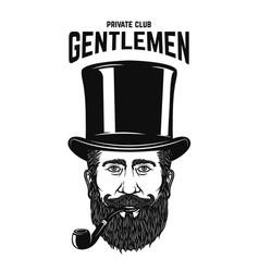 Private gentlemen club gentleman in retro hat vector