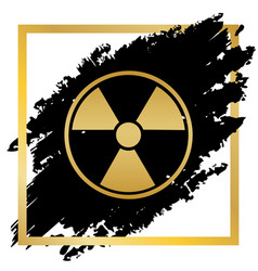 Radiation round sign golden icon at black vector