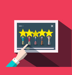 rating concept with human hand on screen with vector image
