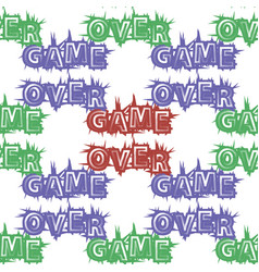 red blue green game over sign seamless pattern vector image