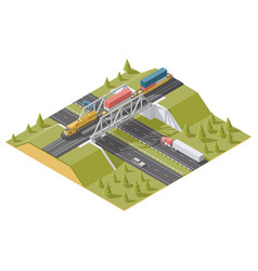 representation infographic railway bridge over the vector image