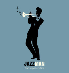 Retro cartoon music trumpeter playing a song vector