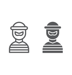 Robber line and glyph icon burglar and criminal vector
