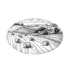 Rural landscape with hay bales vector