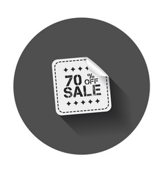 Sale stickers 70 percent off with long shadow vector