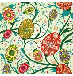 Seamless spring pattern with easter eggs vector image