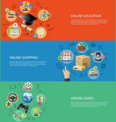 Set Banners of Online Internet Technology vector