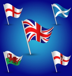 Set flags united kingdom england scotland wales vector