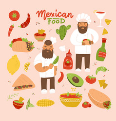 set images mexican dishes and cooks vector image