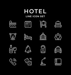 set line icons of hotel vector image