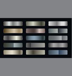 set metallic gradients silver bronze and vector image