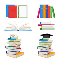 Set of book stacked with glasses or mortar board vector